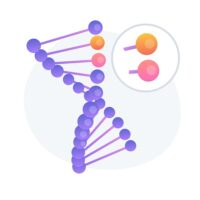 Genome modification, DNA sequence alteration. Future science, biotechnology study, bioengineering idea design element. Genetic structure analysis. Vector isolated concept metaphor illustration